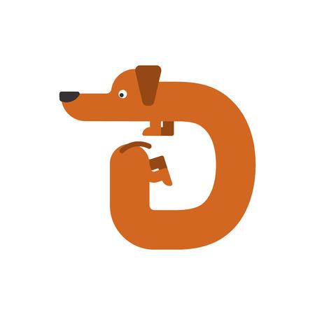 Letter D dog illustration.