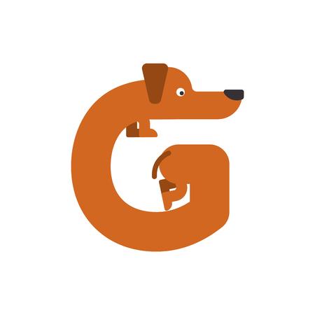Letter G dog illustration. 矢量图像