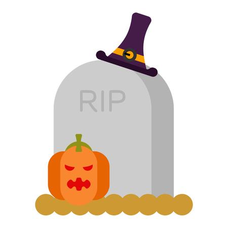 Gravestone and pumpkin. Illustration