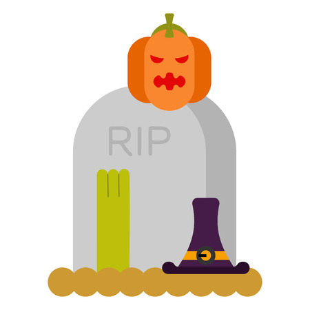 Zombie and grave and pumpkin.