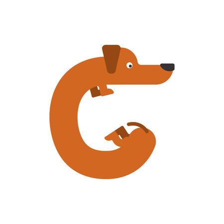 Letter C dog illustration.