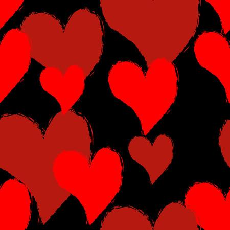 Heart grunge style pattern. 矢量图像