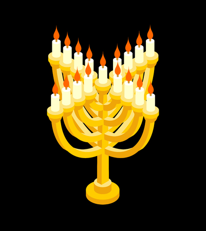 Menorah isometry for Jewish holiday. Traditional religious candelabrum. Illustration