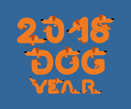 2018 year of dog. Lettering is pet. Letters from home animal. New Year Chinese calendar. Vector illustration