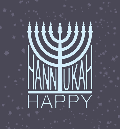 Hanukkah logo Menorah emblem for Jewish holiday.