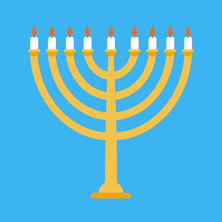 Menorah isolated for ewish holiday. Traditional religious candelabrum. Illustration
