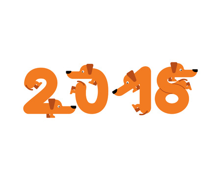 2018 year of dog. Lettering is pet. Letters from home animal. New Year Chinese calendar.