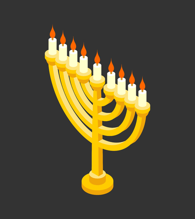 Menorah isometry for Jewish holiday. Traditional religious candelabrum. 矢量图像