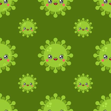 Virus kawaii Cute cartoon pattern. Funny Infection background. Sweet microbe Bacterium vector texture