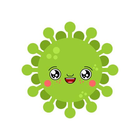 Virus kawaii Cute cartoon. Funny Infection. Sweet microbe Bacterium vector illustration
