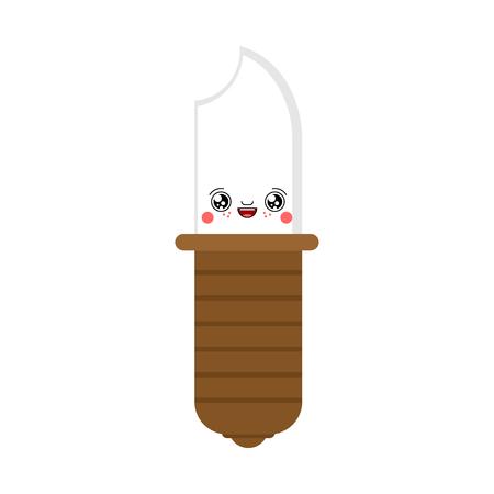 Knife kawaii Cute cartoon. Funny Sweet vector illustration