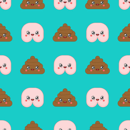 Shit and kawaii Cute cartoon pattern seamless. Funny poop background. Sweet turd vector texture