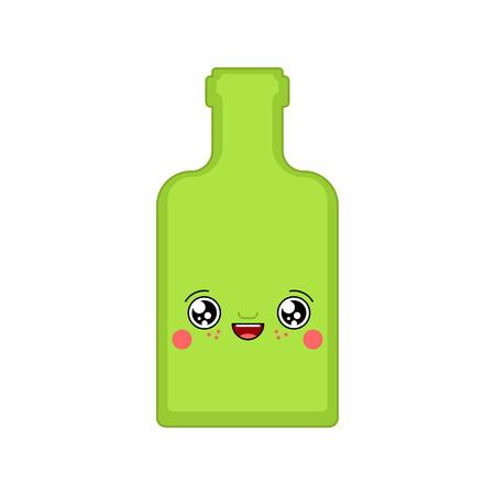 Alcohol kawaii Cute cartoon. Funny Bottle. Sweet Drink vector illustration