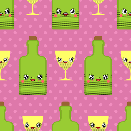 Alcohol and glass kawaii pattern seamless Cute cartoon. Funny Bottle background. Sweet Drink vector texture