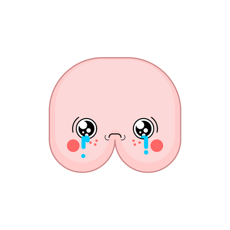 Dessin animé mignon Kawaii triste. Drôle de cul qui pleure Vecteurs