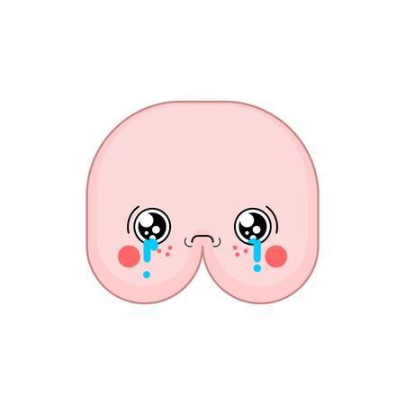 Sad Kawaii ass Cute cartoon. Funny butt Crying 矢量图像