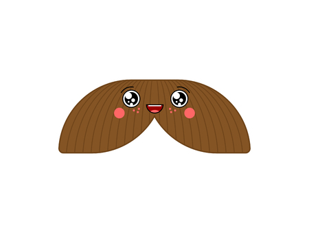 Mustache kawaii Cute cartoon. Funny Sweet vector illustration 矢量图像
