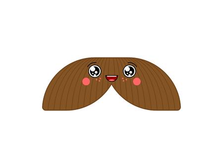Mustache kawaii Cute cartoon. Funny Sweet vector illustration Illustration
