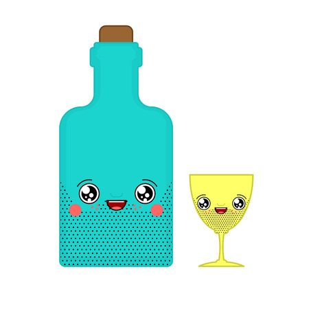 Alcohol and glass kawaii Cute cartoon. Funny Bottle. Sweet Drink vector illustration