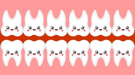Funny Teeth Open mouth. Tooth kawaii Cute cartoon. Sweet vector illustration