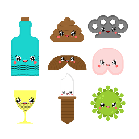 Kawaii Adult characters set Cute. cartoon Funny Shit and ass. Knife and Brass knuckles. Alcohol and virus. Fuck and mustache Ilustração