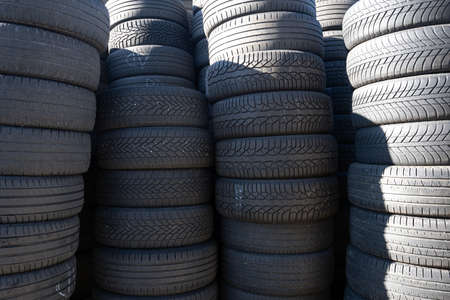 stacked car tires. car tires background