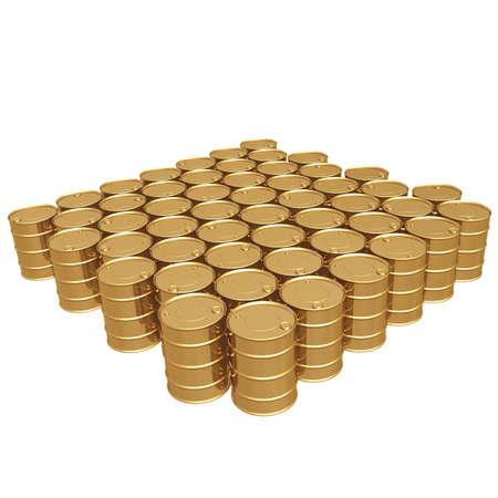 iraq money: Gilded Oil Barrels 3D Stock Photo
