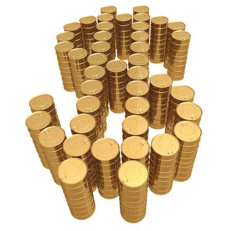 iraq money: Gilded Oil Barrel Dollar Symbol 3D Stock Photo