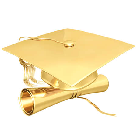 cap and gown: Gilded Graduation 3D