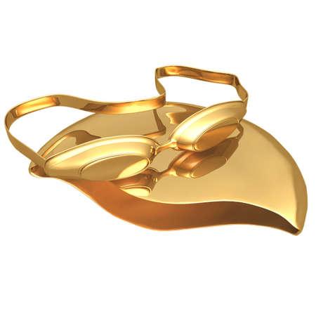 swim cap: Gilded Swimming Cap & Goggles