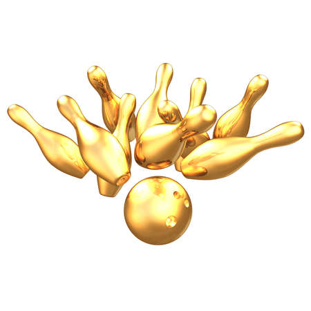 spare: Gilded Bowling 3D Stock Photo