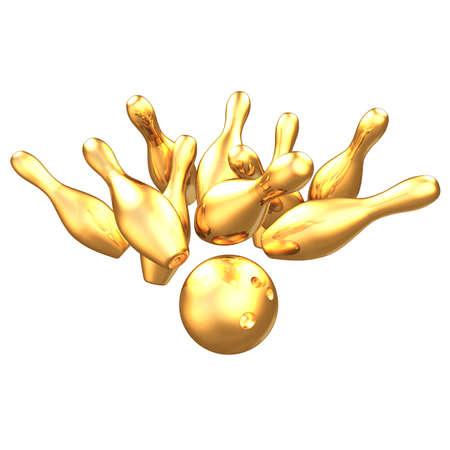 Gilded Bowling 3D Stock fotó