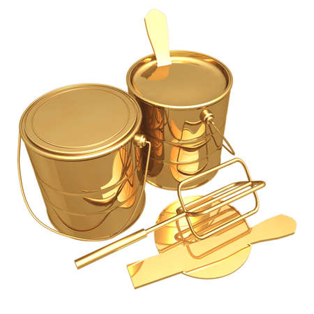 Gilded Paint Cans 3D