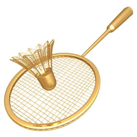 shuttle: Verguld Badminton Stockfoto