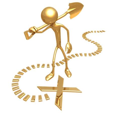 gold shovel: X Spot Stock Photo
