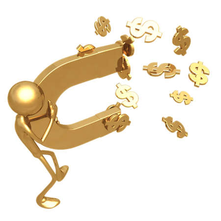 accumulate: Currency Magnet Stock Photo