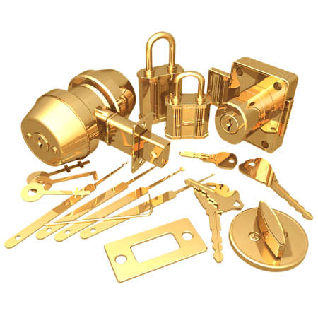 deadbolt: Gilded Locksmith Stock Photo