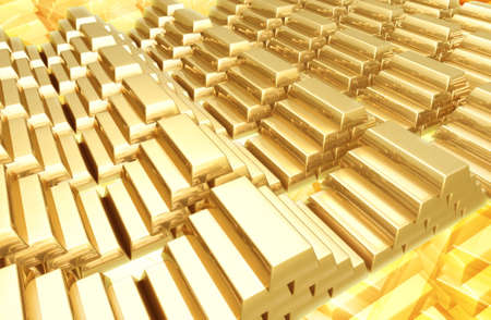 treasury: Gold Bars Background 3D Stock Photo