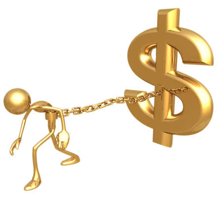 idioms: Chained To Dollar Stock Photo