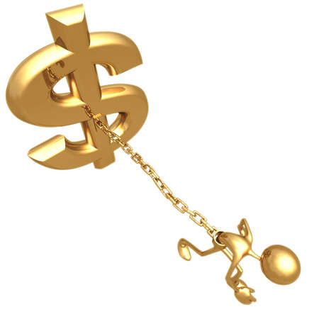 Chained To Dollar Stock Photo