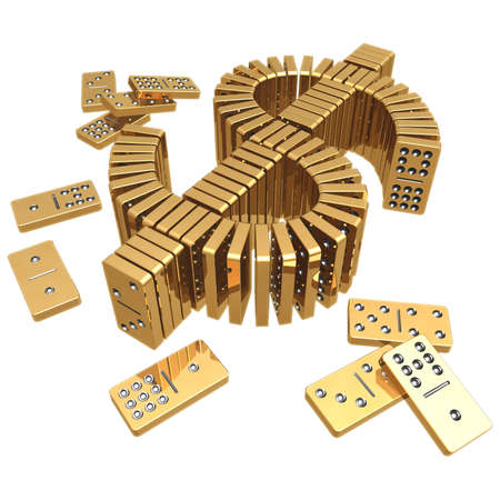 Gilded Dollar Domino (with clipping path) Stock Photo