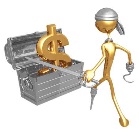 Pirate Treasure Dollar Stock Photo