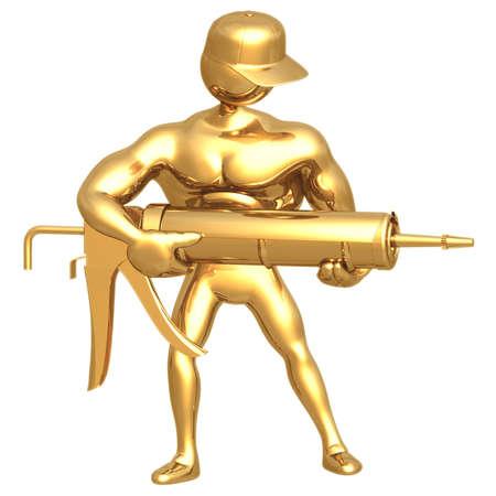 Hold Caulking Gun Stock Photo