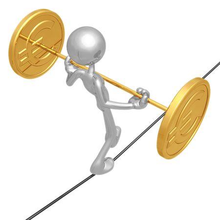 Euro cuerda floja Foto de archivo - 4379957
