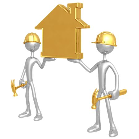 Construction Workers Holding Up Home