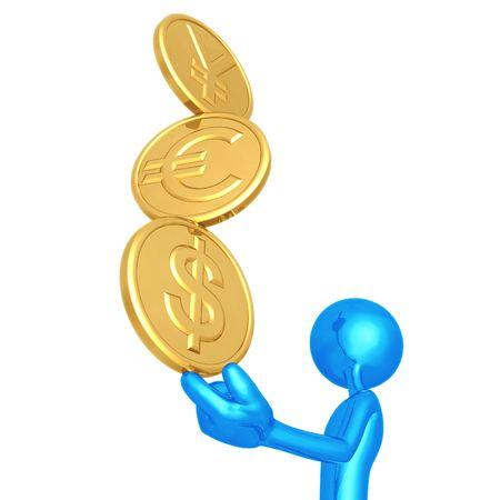 Balancing A Stack Of Gold Yen Euro Dollar Coins On Fingertip Stockfoto