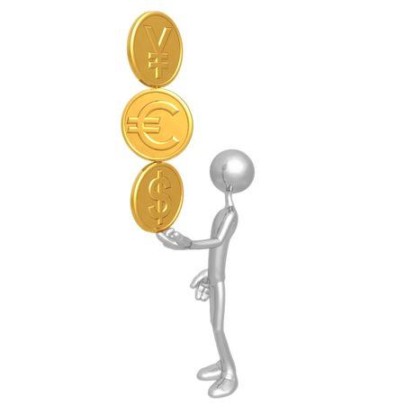 Balancing A Stack Of Gold Yen Euro Dollar Coins On Fingertip