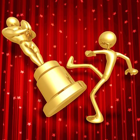 Film Award Loser Kicking Trophy Stock Photo