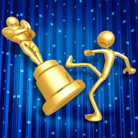 Film Award Loser Kicking Trophy Stock Photo