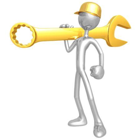 Mechanic Holding A Giant Wrench Reklamní fotografie